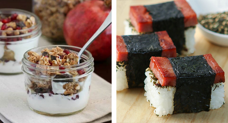 Parfait; Musubi & Shredded Lettuce Salad